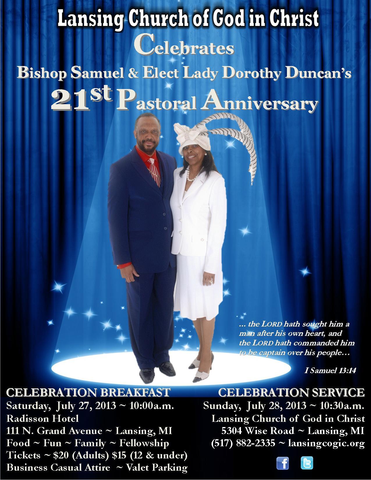 21st Pastoral Anniversary Celebration Honoring Bishop ...